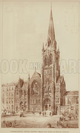 Congregational Church, Croydon, Messrs Potts, Sulman and Hennings, Architects. Illustration for The Builder, 22 October 1887.