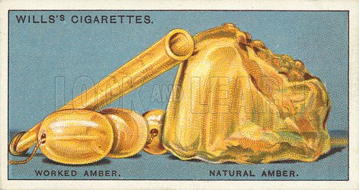 "Worked amber, natural amber. Illustration for one of a series of cigarette cards on the subject of ""Do You Know"" published by Wills's Cigarettes, early 20th century."
