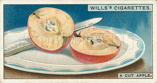 "A cut apple. Illustration for one of a series of cigarette cards on the subject of ""Do You Know"" published by Wills's Cigarettes, early 20th century."