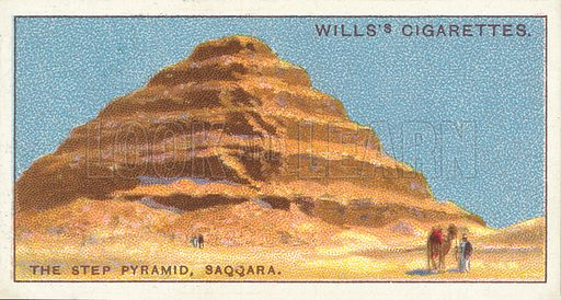 """The Step Pyramid, Saqqara. Illustration for one of a series of cigarette cards on the subject of """"Do You Know"""" published by Wills's Cigarettes, early 20th century."""