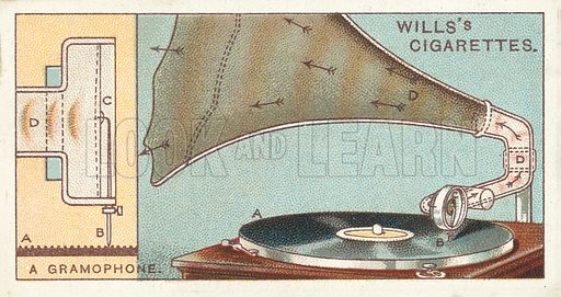 "A gramophone. Illustration for one of a series of cigarette cards on the subject of ""Do You Know"" published by Wills's Cigarettes, early 20th century."