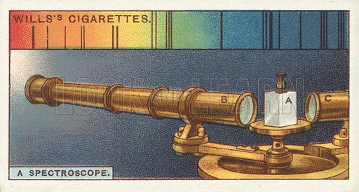 "A spectroscope. Illustration for one of a series of cigarette cards on the subject of ""Do You Know"" published by Wills's Cigarettes, early 20th century."