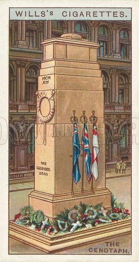 "The Cenotaph. Illustration for one of a series of cigarette cards on the subject of ""Do You Know"" published by Wills's Cigarettes, early 20th century."