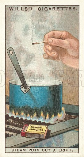 "Steam puts out a Light. Illustration for one of a series of cigarette cards on the subject of ""Do You Know"" published by Wills's Cigarettes, early 20th century."