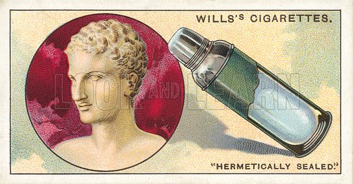 "Hermetically Sealed. Illustration for one of a series of cigarette cards on the subject of ""Do You Know"" published by Wills's Cigarettes, early 20th century."