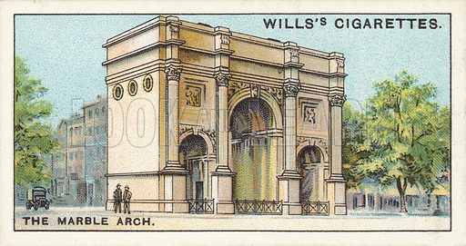 "The Marble Arch. Illustration for one of a series of cigarette cards on the subject of ""Do You Know"" published by Wills's Cigarettes, early 20th century."