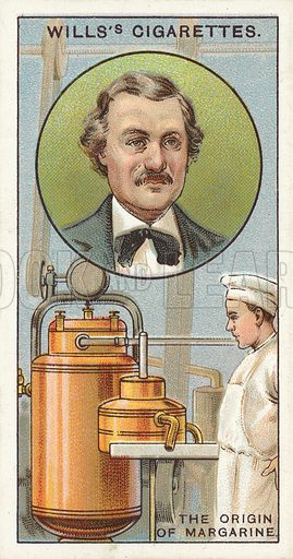 "The Origin of Margarine. Illustration for one of a series of cigarette cards on the subject of ""Do You Know"" published by Wills's Cigarettes, early 20th century."