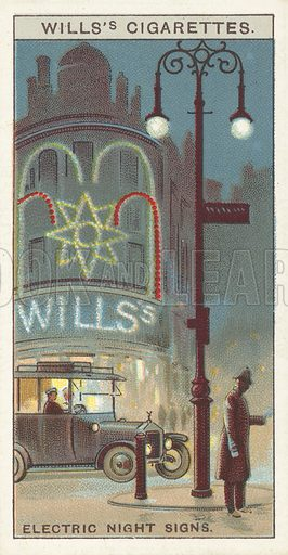 """Electric Night Signs. Illustration for one of a series of cigarette cards on the subject of """"Do You Know"""" published by Wills's Cigarettes, early 20th century."""
