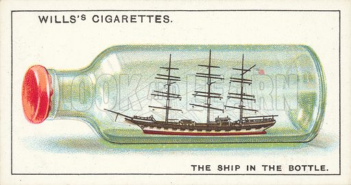 "The Ship in the Bottle. Illustration for one of a series of cigarette cards on the subject of ""Do You Know"" published by Wills's Cigarettes, early 20th century."