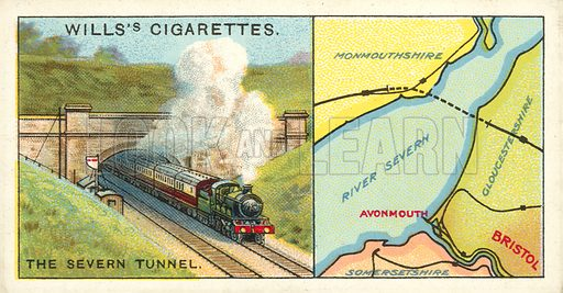"The Severn Tunnel. Illustration for one of a series of cigarette cards on the subject of ""Do You Know"" published by Wills's Cigarettes, early 20th century."