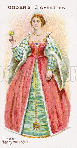 Time of Henry VIII, 1530. Illustration for one of a series of cigarette cards on the subject of British Costumes from 100 BC to 1904, published by Ogdens.  Early 20th century.
