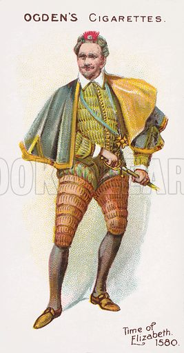 Time of Elizabeth, 1580. Illustration for one of a series of cigarette cards on the subject of British Costumes from 100 BC to 1904, published by Ogdens.  Early 20th century.