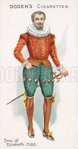 Time of Elizabeth, 1595. Illustration for one of a series of cigarette cards on the subject of British Costumes from 100 BC to 1904, published by Ogdens.  Early 20th century.