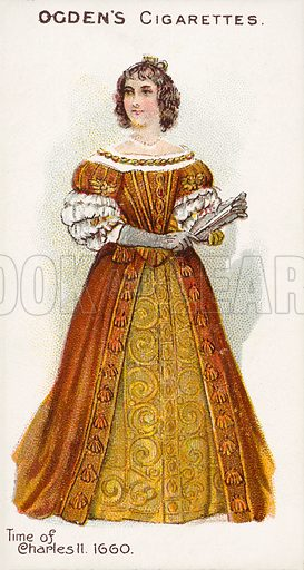 Time of Charles II, 1660. Illustration for one of a series of cigarette cards on the subject of British Costumes from 100 BC to 1904, published by Ogdens.  Early 20th century.