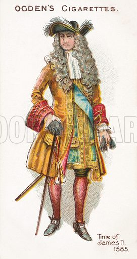 Time of James II, 1685. Illustration for one of a series of cigarette cards on the subject of British Costumes from 100 BC to 1904, published by Ogdens. Early 20th century.