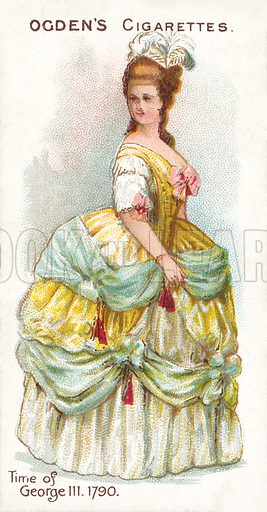 Time of George III, 1790. Illustration for one of a series of cigarette cards on the subject of British Costumes from 100 BC to 1904, published by Ogdens.  Early 20th century.