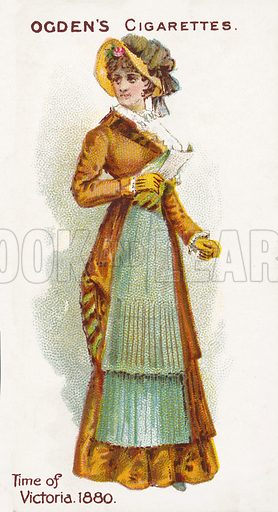 Time of Victoria, 1880. Illustration for one of a series of cigarette cards on the subject of British Costumes from 100 BC to 1904, published by Ogdens.  Early 20th century.