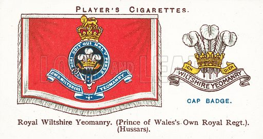 Royal Wiltshire Yeomanry, Prince of Wales's Own Royal Regt, Hussars. Illustration for one of a series of cigarette cards on the subject of Drum Banners and Cap Badges, published by John Player. Early 20th century.