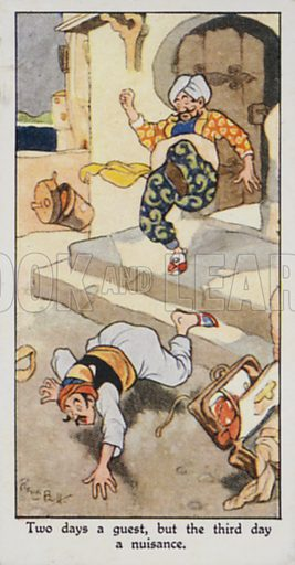 Two days a guest, but the third day a nuisance. Illustration for one of a set of cigarette cards on the subject of Eastern Proverbs, published by Churchman, early 20th century.