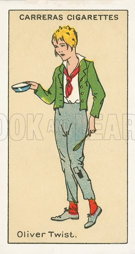 Oliver Twist, Oliver Twist by Charles Dickens. Illustration for one of a series of cigarette cards on the subject of Figures of Fiction, published by Carreras.  Early 20th century.