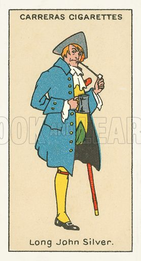 Long John Silver, Treasure Island by Robert Louis Stevenson. Illustration for one of a series of cigarette cards on the subject of Figures of Fiction, published by Carreras.  Early 20th century.