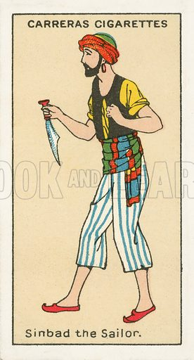 Sindbad the Sailor, Arabian Nights. Illustration for one of a series of cigarette cards on the subject of Figures of Fiction, published by Carreras.  Early 20th century.