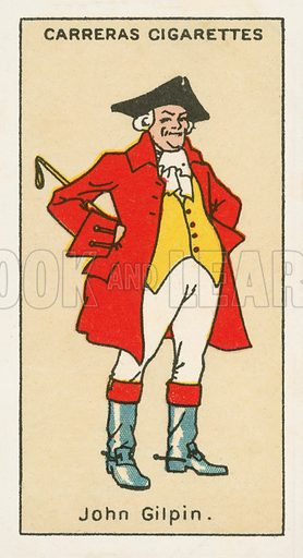 John Gilpin by William Cowper. Illustration for one of a series of cigarette cards on the subject of Figures of Fiction, published by Carreras.  Early 20th century.