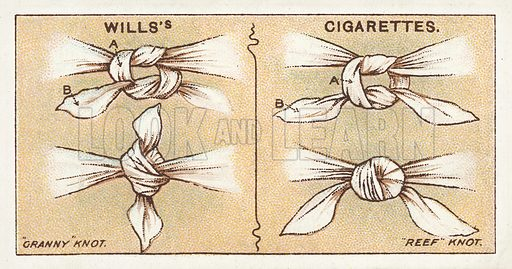Granny knot, Reef knot. Illustration for one of a series of cigarette cards on the subject of First Aid published by Wills's Cigarettes, early 20th century.