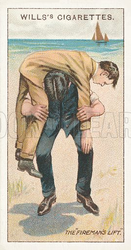 The fireman's lift. Illustration for one of a series of cigarette cards on the subject of First Aid published by Wills's Cigarettes, early 20th century.
