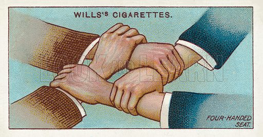 Four-handed seat. Illustration for one of a series of cigarette cards on the subject of First Aid published by Wills's Cigarettes, early 20th century.