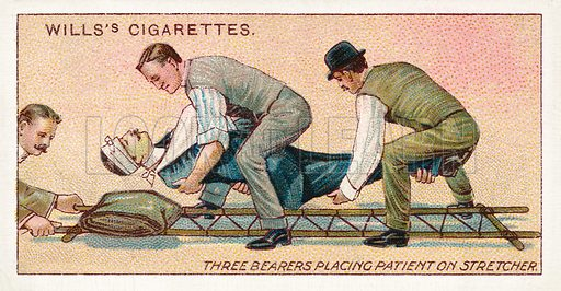 Three bearers placing patient on stretcher. Illustration for one of a series of cigarette cards on the subject of First Aid published by Wills's Cigarettes, early 20th century.