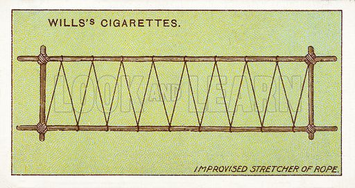Improvised stretcher of rope. Illustration for one of a series of cigarette cards on the subject of First Aid published by Wills's Cigarettes, early 20th century.
