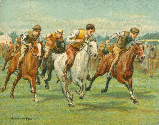 Pony Races. Illustration for one of a series of cigarette cards on the subject of Races Historic and Modern, published by Turf Cigarettes.  Early 20th century.