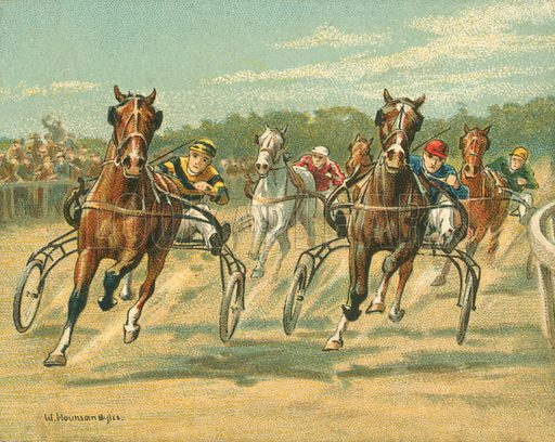 Trotting and Pacing Races. Illustration for one of a series of cigarette cards on the subject of Races Historic and Modern, published by Turf Cigarettes.  Early 20th century.