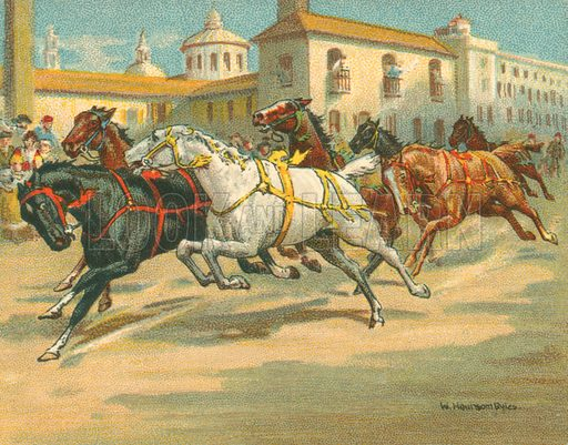 Riderless Horse Races in Italy. Illustration for one of a series of cigarette cards on the subject of Races Historic and Modern, published by Turf Cigarettes.  Early 20th century.
