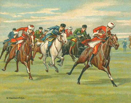 Cossack Horse Races. Illustration for one of a series of cigarette cards on the subject of Races Historic and Modern, published by Turf Cigarettes.  Early 20th century.