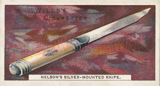 Nelson's Silver-Mounted Knife. Illustration for one of a series of cigarette cards on the subject of Nelson, published by Wills's Cigarettes.  Early 20th century.