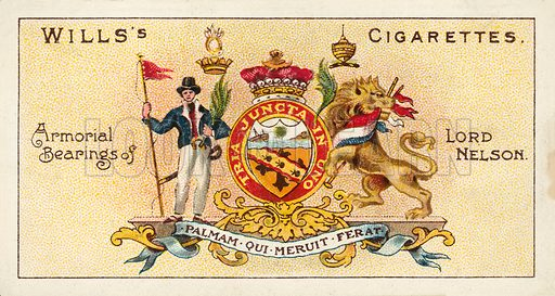 Armorial Bearings of Lord Nelson, Palman Qui Meruit Ferat. Illustration for one of a series of cigarette cards on the subject of Nelson, published by Wills's Cigarettes.  Early 20th century.