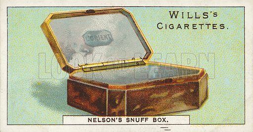 Nelson's Snuff Box. Illustration for one of a series of cigarette cards on the subject of Nelson, published by Wills's Cigarettes.  Early 20th century.