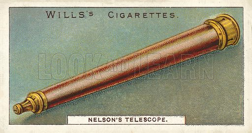 Nelson's Telescope. Illustration for one of a series of cigarette cards on the subject of Nelson, published by Wills's Cigarettes.  Early 20th century.