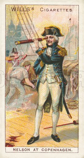 Nelson at Copenhagen. Illustration for one of a series of cigarette cards on the subject of Nelson, published by Wills's Cigarettes.  Early 20th century.
