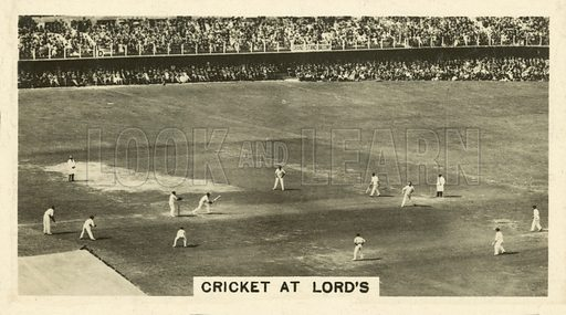 Cricket at Lord's. Illustration for one of a set of cigarette cards on the subject of Homeland Events, published by Wills, early 20th century.