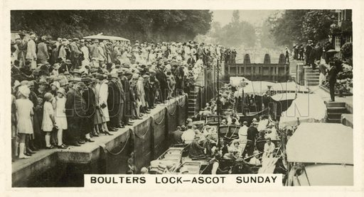 Boulters Lock, Ascot Sunday. Illustration for one of a set of cigarette cards on the subject of Homeland Events, published by Wills, early 20th century.