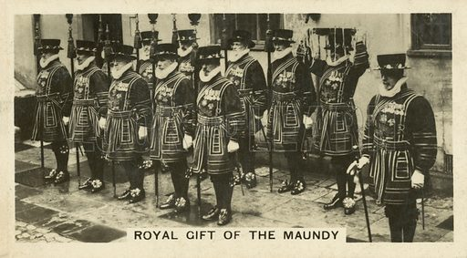 Royal Gift of the Maundy. Illustration for one of a set of cigarette cards on the subject of Homeland Events, published by Wills, early 20th century.