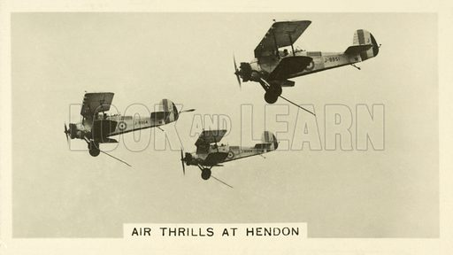Air Thrills at Hendon. Illustration for one of a set of cigarette cards on the subject of Homeland Events, published by Wills, early 20th century.