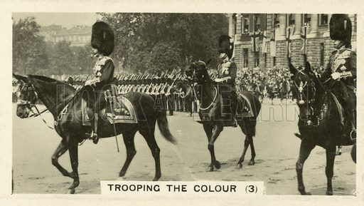 Trooping the Colour. Illustration for one of a set of cigarette cards on the subject of Homeland Events, published by Wills, early 20th century.