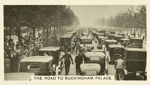 The Road to Buckingham Palace. Illustration for one of a set of cigarette cards on the subject of Homeland Events, published by Wills, early 20th century.