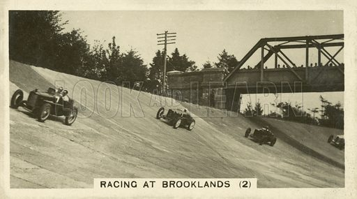 Racing at Brooklands. Illustration for one of a set of cigarette cards on the subject of Homeland Events, published by Wills, early 20th century.
