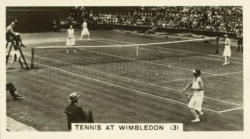 Tennis at Wimbledon. Illustration for one of a set of cigarette cards on the subject of Homeland Events, published by Wills, early 20th century.