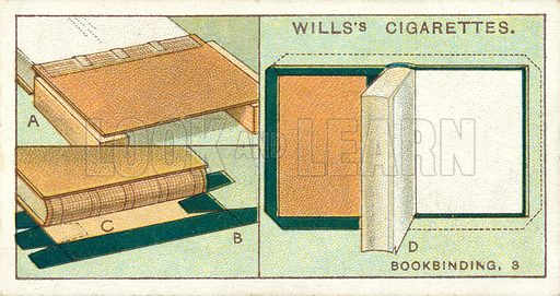 Bookbinding, 3. Illustration for one of a series of cigarette cards on the subject of Household Hints published by Wills's Cigarettes, early 20th century.